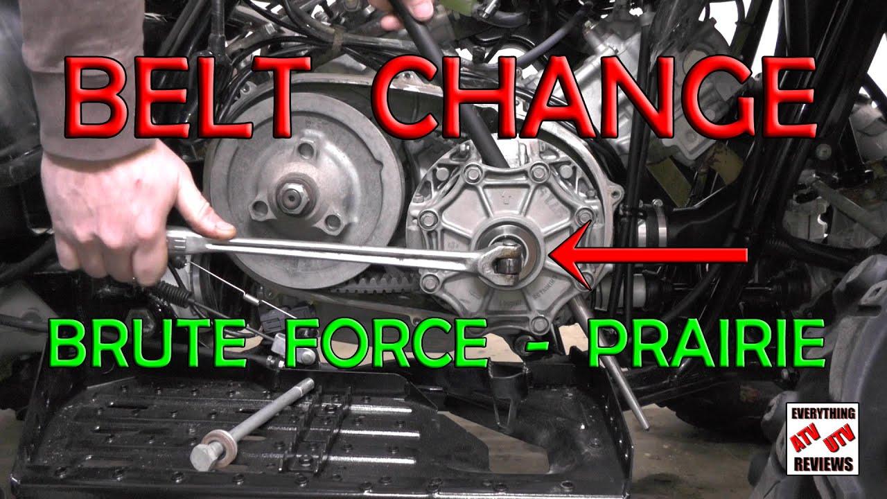 how to change belt on kawasaki brute force or prairie 360 650 700 750 [ 1280 x 720 Pixel ]
