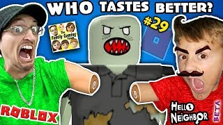 WHO TASTES BETTER? Roblox #29 ZOMBIE RUSH + Hello Neighbor BETA 1st Reaction  FGTEEV 2-in-1 Gameplay