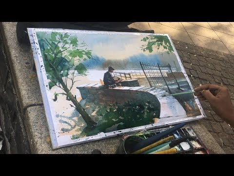 watercolor Painting of an Artist front of me painting at Powai Lake.