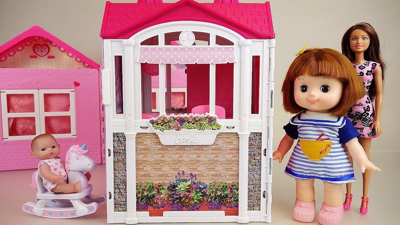 House Toys For Girls : Baby doll and barbie pink house toys youtube