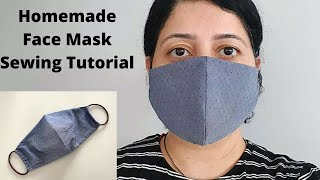 HOW TO MAKE FABRIC FACE MASK WITH FILTER POCKET Easy Sew Face Mask No Sewing Machine
