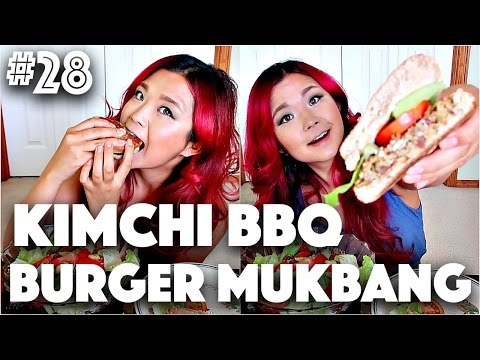 VEGAN KIMCHI BURGER (MUKBANG) | #28 (30 Videos in 30 Days) ♥ Cheap Lazy Vegan