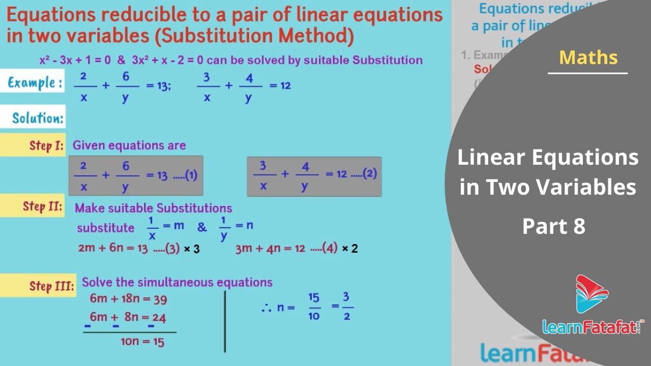 Linear Equations in Two Variables SSC Algebra Std 10 Maharashtra ...