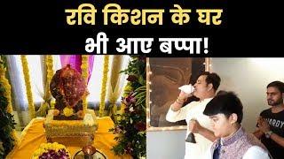 रवि किशन के घर भी आए बप्पा MP Ravi Kishan welcomes Lord Ganesha at his home India News