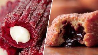Red Velvet Churros VS Chocolate Stuffed Churro Donuts- Buzzfeed Test #71