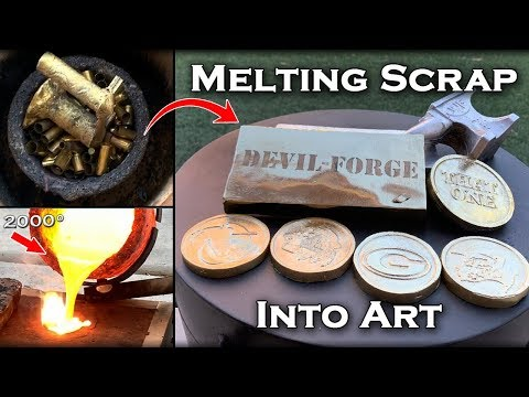Melting Scrap Metal Into DOUBLE Sided 1/2 BRONZE 1/2 ALUMINUM Coins (AND OTHER ART) - 2000° Metal!
