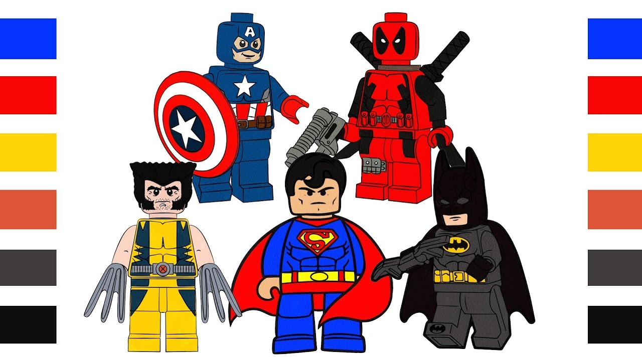 Coloring Pages Lego Hero Batman Superman X Man Deadpool Coloring Book For Kids Digital Coloring Youtube