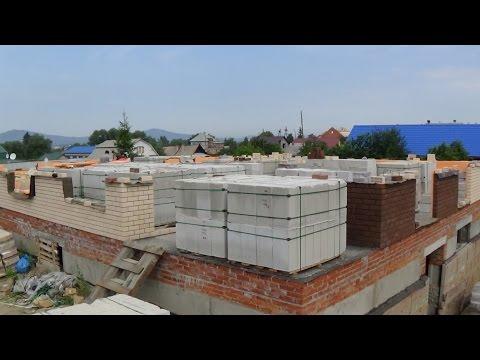 Строим дом ЧАСТЬ 16 КИРПИЧ и ПЕНОБЛОК Первые шесть рядов