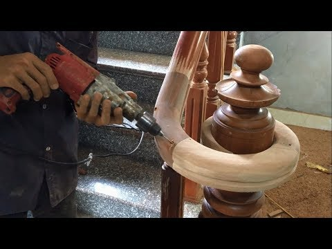 Amazing Curved Woodworking Project – How To Make a Curved Railing For Wood Stairs (Part 2)