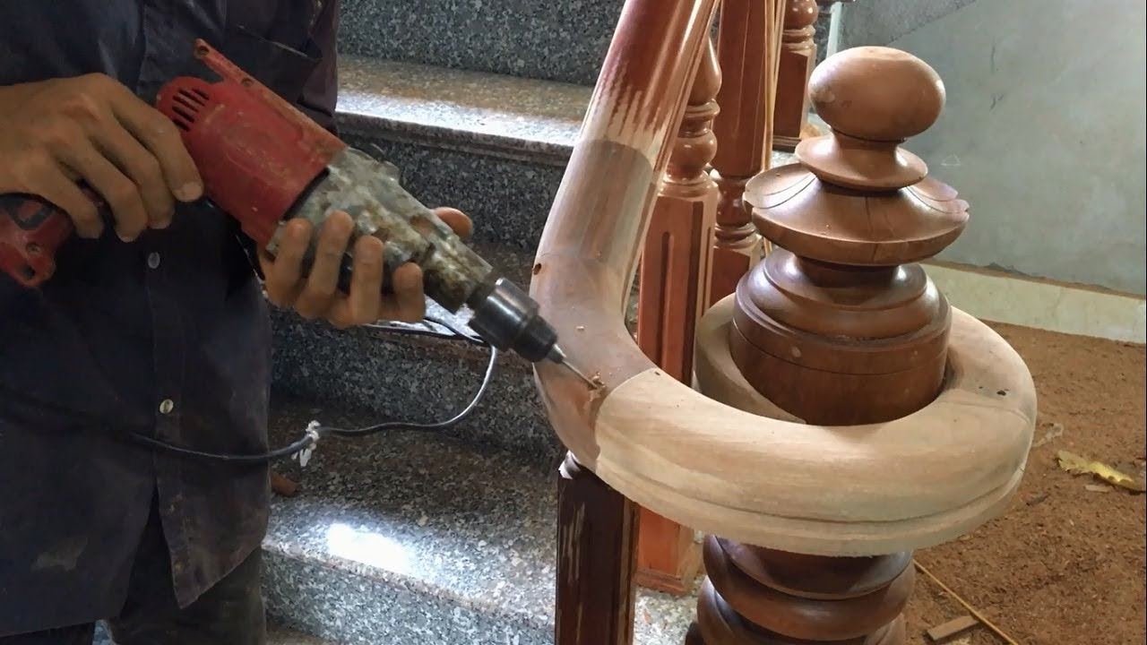 Amazing Curved Woodworking Project How To Make A Curved Railing   Diy Curved Stair Railing   Spiral Staircase   Glass   Staircase Makeover   Stair Case   Railing Ideas