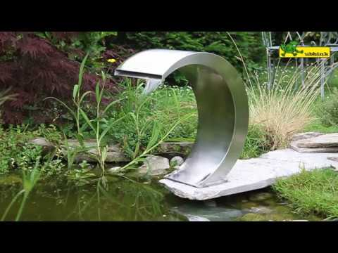 Ubbink stainless steel waterfall mamba youtube for Wasserfall mamba