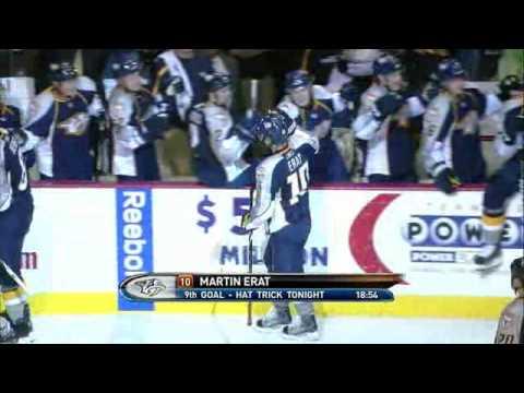 Martin Erat Hat Trick vs Canucks 12/8/2009