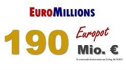 Euromillions: Heute, 06.10.2017 mit 190 Mio.-Euro-Jackpot