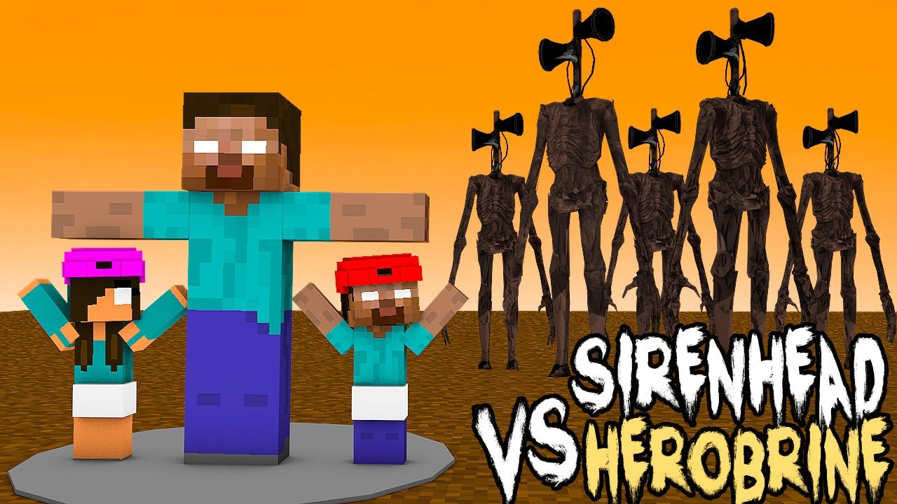 Monster School : SIREN HEAD VS STRONG HEROBRINE FAMILY CHALLENGE - Minecraft Animation