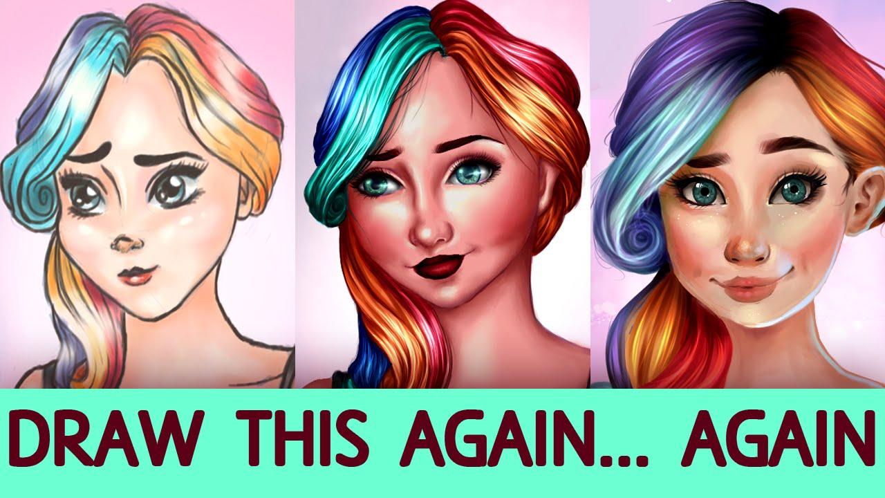 Draw This Again Again 1 Girl With Rainbow Hair Jenna
