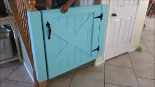 A baby gate I made. Full build instructions here. http://www.instructables.com/id/Barn-Door-Baby-Gate/
