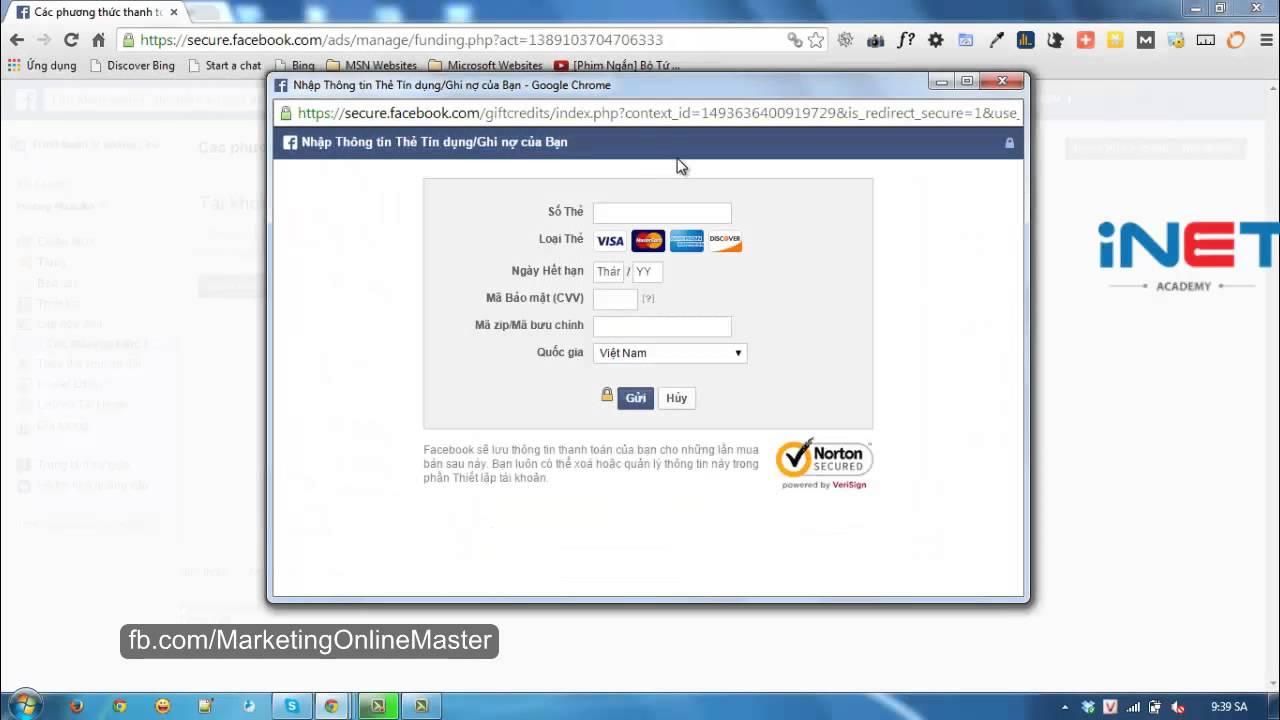 Hướng dẫn add thẻ VISA/MASTER card để quảng cáo trên facebook