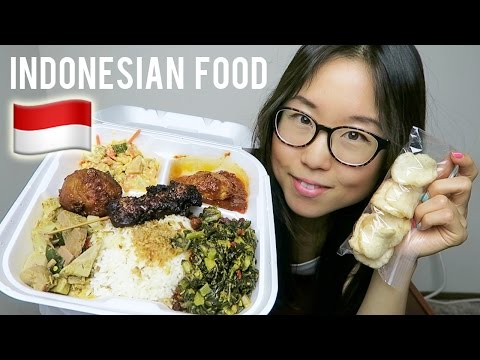 INDONESIAN FOOD MUKBANG with chicken satay, chili egg, jackfruit curry & corn fritter