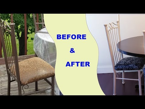 DIY-How to Reupholstering Dining Chairs $20 w/Eliz7