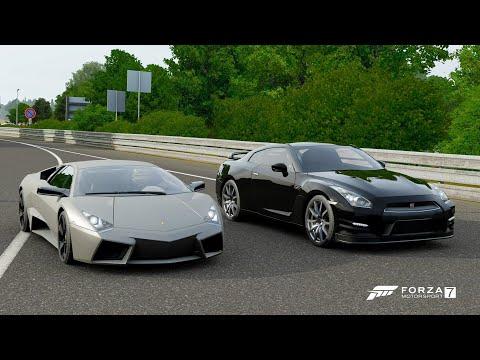 Forza 7 Drag Race: Lamborghini Reventon Vs Nissan GTR Black Edition