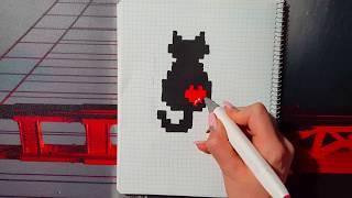 РИСУНКИ ПО КЛЕТОЧКАМ/ кот с сердечком