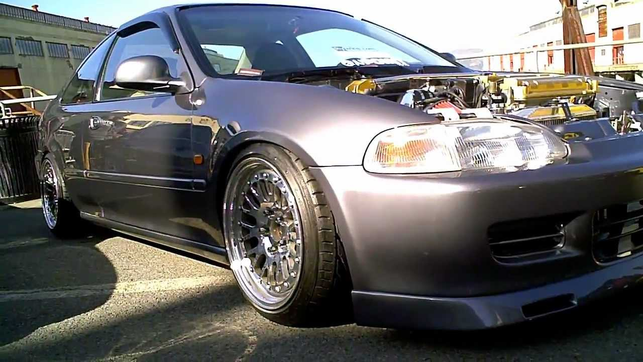 1993 Honda Civic EJ1 Coupe with GSR SwapSkunk2 Intake Manifold on Polished Classic CCW's  YouTube