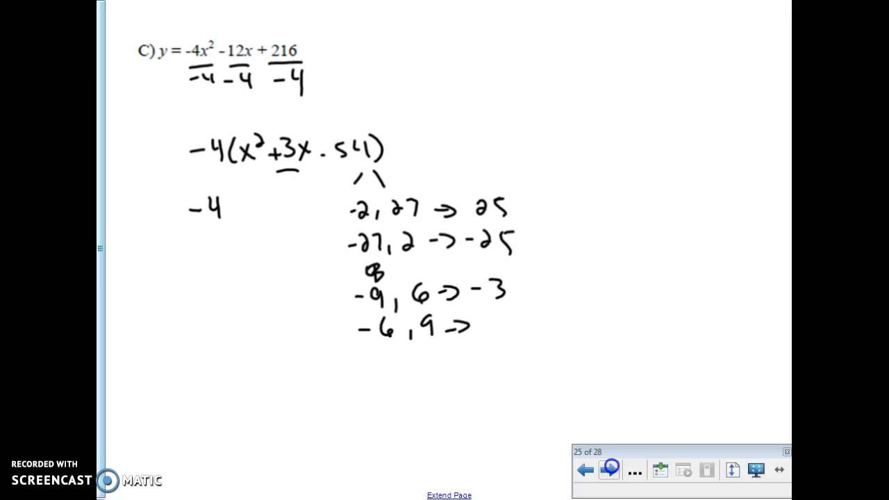 intercept form into vertex form Rewriting standard form and vertex form into intercept form