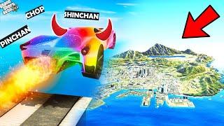 GTA 5 : Shinchan & Pinchan Jumping Godzilla & Tiger Cars Across Map In GTA 5 ! (GTA 5 Mods)