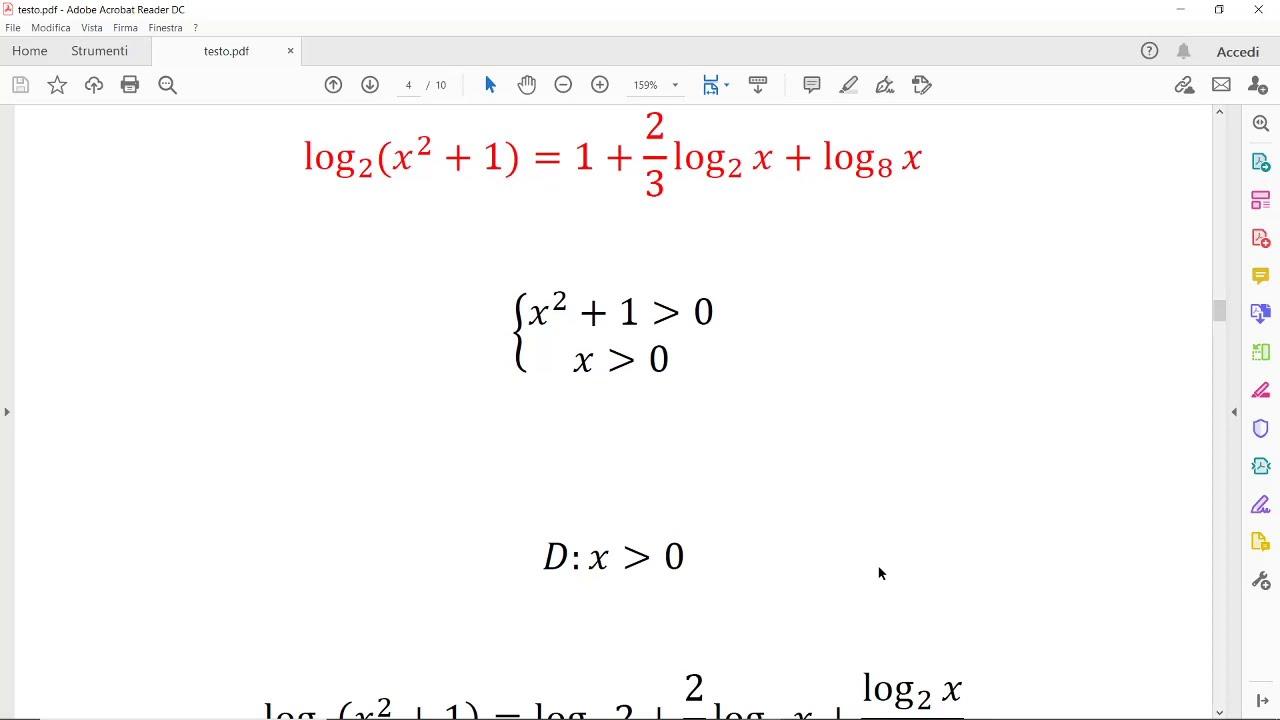 Equazioni Logaritmiche Esercizi Svolti Youtube