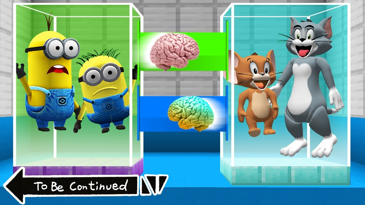 Download BRAIN EXCHANGE MINIONS vs TOM and JERRY in MINECRAFT ! WHAT'S INSIDE MINIONS - Animation Gameplay