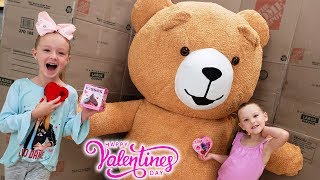 Valentine's Day Candy Scavenger Hunt With Giant Teddy Bear!!