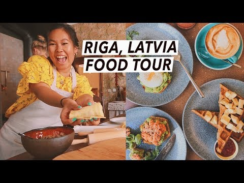 Trying Latvian Food: Dumplings, Central Market & Rye Bread Trifle | Riga Food Tour, Travel Vlog