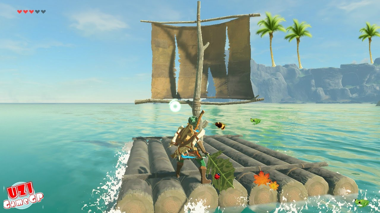 Zelda breath of the wild how to use the raft boat float with zelda breath of the wild how to use the raft boat float with the korok leaf crossing the water sciox Gallery