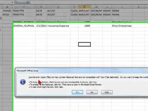 Data Entry US | Importing a Journal Entry (in Excel) into