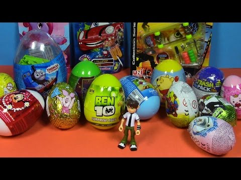 Surprise Eggs! Ben 10, Skateboard bag, Thomas Giant Egg, Mickey Mouse,Sorpresa Huevos