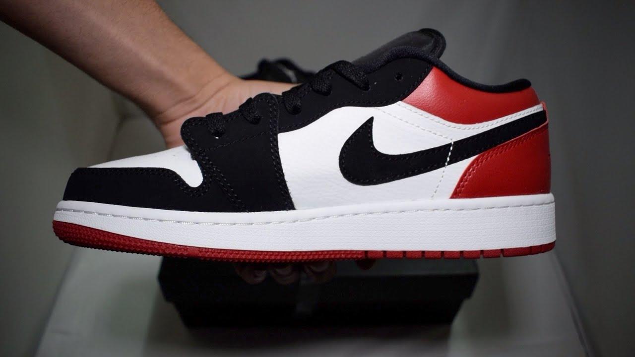 the latest 6edfc b519a Nike Air Jordan 1 Low Black Toe GS Unboxing