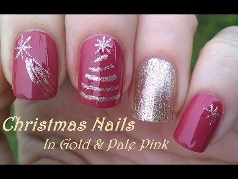 Christmas Tree Nail Art Gold Pink Nails By Scotch Tape