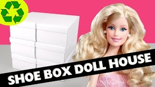 How To Make A Shoe Box Dollhouse - Part 1- Structure- Easy Doll Crafts