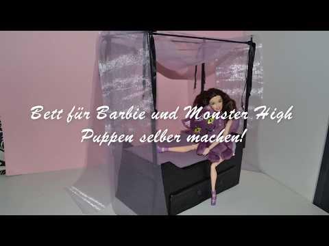 DIY Barbie doll bed / Barbie Bett Basteln -  Himmelbett selber machen aus Schuhkarton