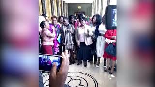Women MPs chant