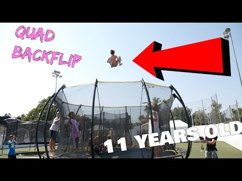 11 YEAR OLD DOES STANDING QUAD BACKFLIP!