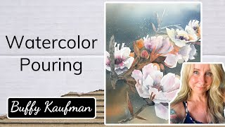 Watercolor Pouring Cherry Blossoms