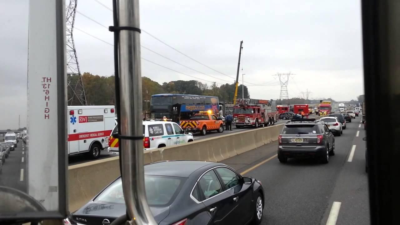 Epic Crash on NJ Turnpike Megabus vs Small SUV