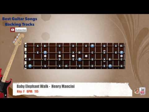 Baby Elephant Walk - Henry Mancini Bass Backing Track with scale, chords and lyrics