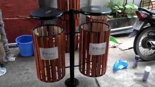 Thùng rác gỗ treo đôi, thùng rác gỗ ngoài trời, sản xuất thùng rác gỗ, thùng rác bằng gỗ