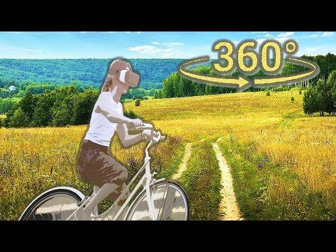 Панорамное Видео 360 VR 4K для очков виртуальной реальности. Велопрогулка на природе samsung gear360