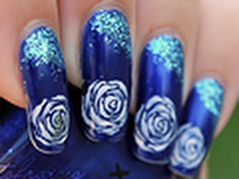 Nail Art Grandes Roses Youtube