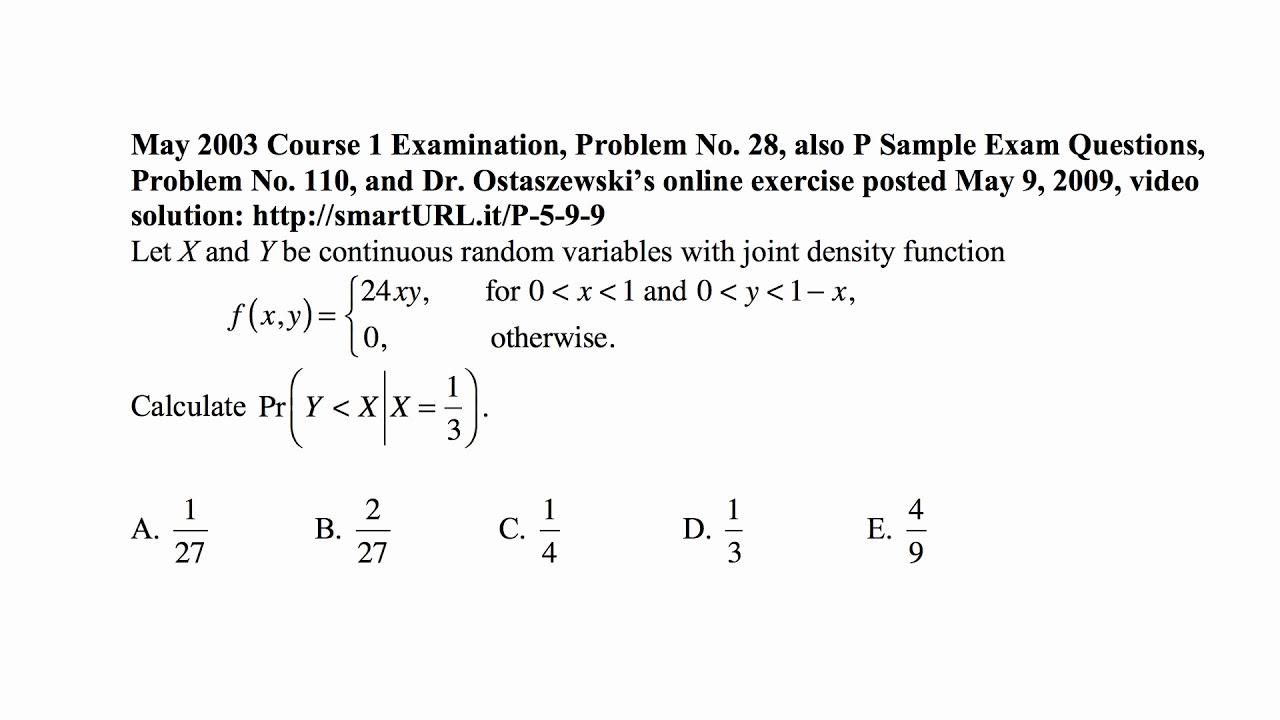 Exam p sample solutions.