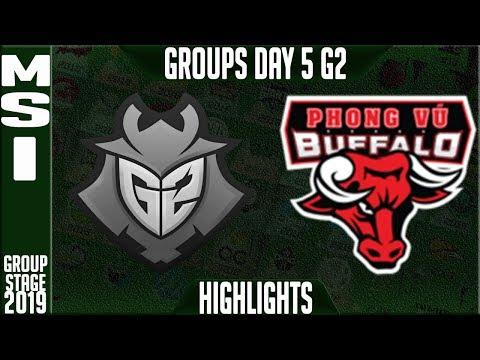 G2 vs PVB Highlights | MSI 2019 Group Stage Day 5 | G2 Esports vs Phong Vu Buffalo