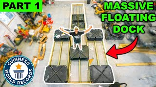 Building a GIANT DIY FLOATING DOCK for My BACKYARD POND!!! (Part 1) - Framing and Floats